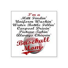 "Baseball_Mom Square Sticker 3"" x 3"""