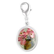 Pink dogwood Flowers in Czech V Silver Oval Charm