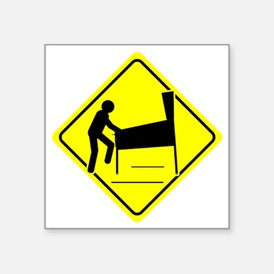 "Funny - Caution Pinball Wiz Square Sticker 3"" x 3"""