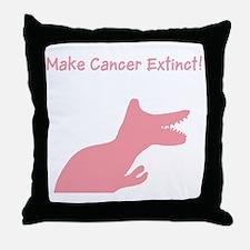 Pink Dinosaur Make Cancer Extinct Throw Pillow
