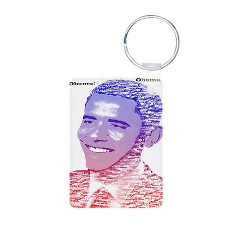 Obama5x7 Painted Name Red Aluminum Photo Keychain