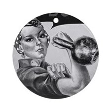 We Can Do It Kettlebells Round Ornament