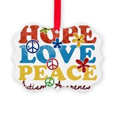 Hope, Love, Peace Autism Awarenes Ornament