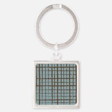 shower_curtain shadow checks Square Keychain