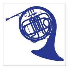 "blue french horn Square Car Magnet 3"" x 3"""