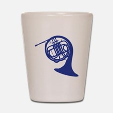 blue french horn Shot Glass