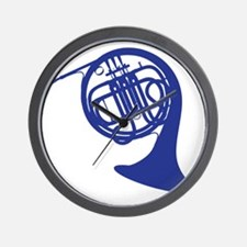 blue french horn Wall Clock