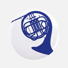 """blue french horn 3.5"""" Button"""