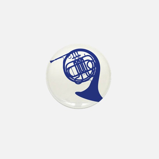 blue french horn Mini Button