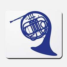 blue french horn Mousepad