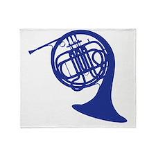 blue french horn Throw Blanket