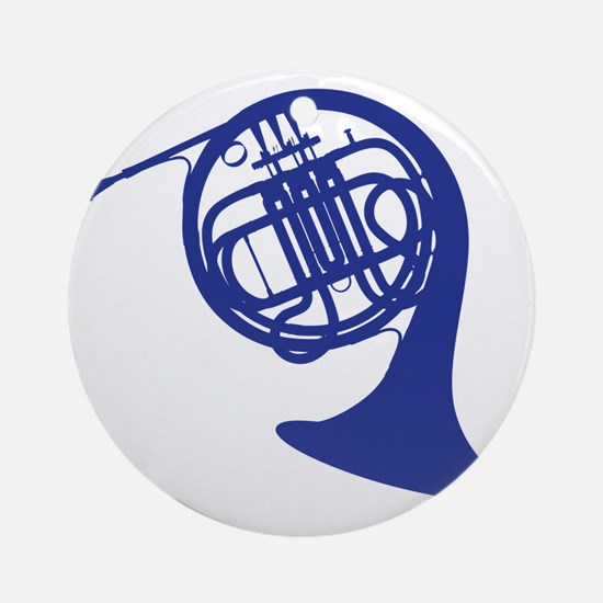 blue french horn Round Ornament