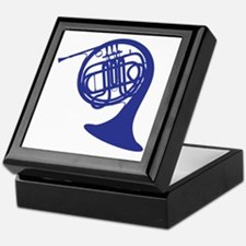 blue french horn Keepsake Box