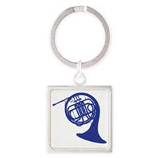 blue french horn Square Keychain