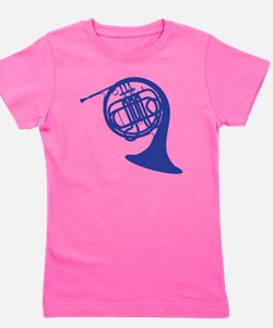blue french horn Girl's Tee