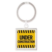 under construction Square Keychain
