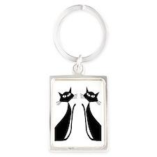 Black Cats Portrait Keychain