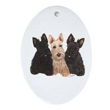 Scottish Terrier - 3 puppies Oval Ornament
