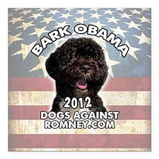 "bark_obama_button Square Car Magnet 3"" x 3"""