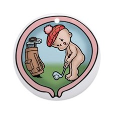 golf-womb-T Round Ornament