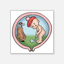 """golf-womb-T Square Sticker 3"""" x 3"""""""