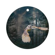 Owl at Midnight Round Ornament