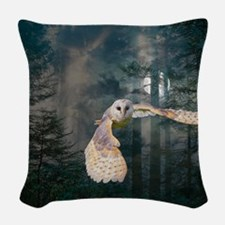 Owl at Midnight Woven Throw Pillow