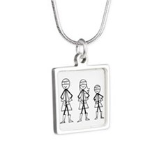 Superhero Family Silver Square Necklace