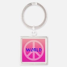 world_peace_pinkandblue Square Keychain