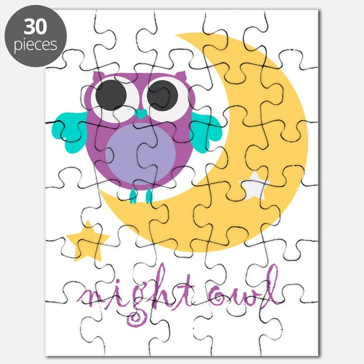 night owl with moon and stars Puzzle