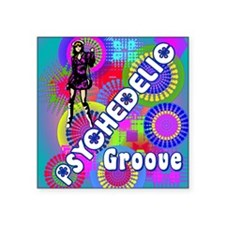 "PSYCHEDELIC GROOVE 60S RETR Square Sticker 3"" x 3"""