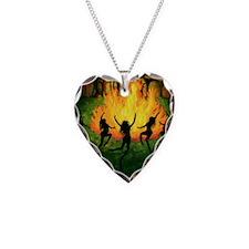 Fire Dance Necklace Heart Charm