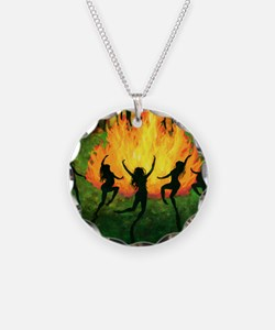 Fire Dance Necklace Circle Charm