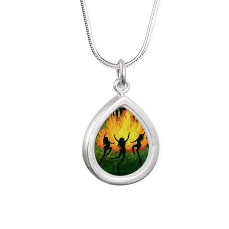 Fire Dance Silver Teardrop Necklace