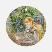Girl Reading Round Ornament
