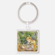 Girl Reading Square Keychain