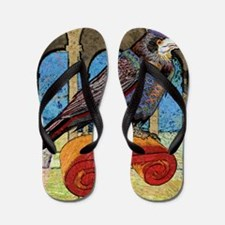showerCurtainWellRaven Flip Flops
