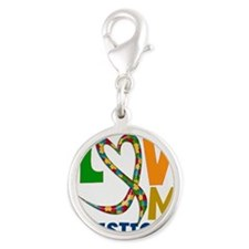 I love My Autistic SOn Silver Round Charm