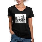 Pigeon Trio Women's V-Neck Dark T-Shirt