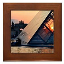 Sunset at the Louvre Framed Tile