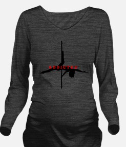 Addicted Black/Red Long Sleeve Maternity T-Shirt
