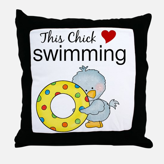 This Chick Loves Swimming Throw Pillow