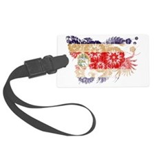 Costa Rica textured flower aged  Luggage Tag