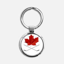 Canada-Hockey-6-whiteLetters copy Round Keychain