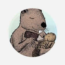 """Mother Beaver and Baby 3.5"""" Button"""