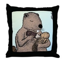 Mother Beaver and Baby Throw Pillow