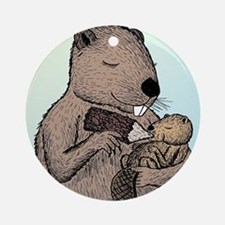 Mother Beaver and Baby Round Ornament