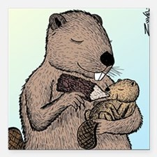 "Mother Beaver and Baby Square Car Magnet 3"" x 3"""