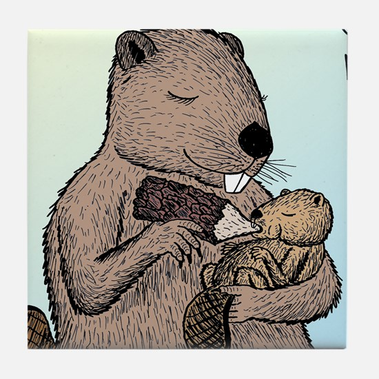 Mother Beaver and Baby Tile Coaster