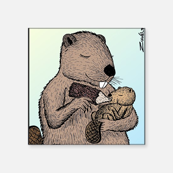 "Mother Beaver and Baby Square Sticker 3"" x 3"""